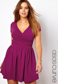 Curve Exclusive Skater Dress With Ballet Wrap And Short Sleeve - style: faux wrap/wrap; neckline: low v-neck; pattern: plain; waist detail: twist front waist detail/nipped in at waist on one side/soft pleats/draping/ruching/gathering waist detail; predominant colour: purple; occasions: casual, evening; length: just above the knee; fit: fitted at waist & bust; fibres: cotton - stretch; hip detail: soft pleats at hip/draping at hip/flared at hip; sleeve length: short sleeve; sleeve style: standard; trends: volume; pattern type: fabric; pattern size: standard; texture group: jersey - stretchy/drapey