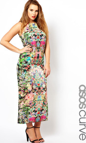 Curve Maxi Dress In Dark Based Floral - sleeve style: sleeveless; style: maxi dress; length: ankle length; fit: body skimming; fibres: polyester/polyamide - 100%; occasions: occasion, holiday; neckline: crew; predominant colour: multicoloured; sleeve length: sleeveless; trends: high impact florals; pattern type: fabric; pattern size: standard; pattern: florals; texture group: other - light to midweight