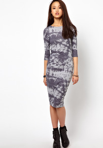Tie Dye Column Dress - neckline: slash/boat neckline; fit: tight; style: bodycon; pattern: tie dye; predominant colour: mid grey; secondary colour: light grey; occasions: casual, evening; length: on the knee; fibres: viscose/rayon - stretch; sleeve length: 3/4 length; sleeve style: standard; texture group: jersey - clingy; pattern type: fabric; pattern size: big & busy
