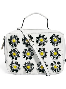 Leather Across Body Bag With Flower Embellishment - predominant colour: white; secondary colour: yellow; occasions: casual; type of pattern: heavy; style: messenger; length: across body/long; size: standard; material: leather; embellishment: applique; pattern: florals; trends: high impact florals; finish: plain