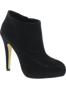 Timeout Shoe Boots - predominant colour: black; occasions: evening, work; material: faux leather; heel height: high; embellishment: zips; heel: platform; toe: round toe; boot length: shoe boot; style: standard; finish: plain; pattern: plain