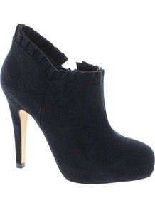 Tandy Shoe Boots - predominant colour: black; occasions: evening; material: faux leather; heel height: high; embellishment: zips; heel: platform; toe: round toe; boot length: ankle boot; style: standard; finish: plain; pattern: plain