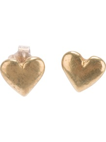 Heart Stud Earrings - predominant colour: silver; occasions: casual, evening, work, occasion, holiday; style: stud; length: short; size: small; material: chain/metal; fastening: pierced; trends: metallics; finish: plain
