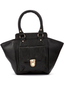 Black Winged Buckle Carry Bag - predominant colour: black; occasions: casual, work; type of pattern: standard; style: tote; length: handle; size: standard; material: faux leather; pattern: plain; finish: plain