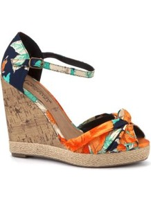 Navy Tropical Floral Print Peeptoe Cork Wedges - predominant colour: navy; secondary colour: bright orange; occasions: casual, evening, work, occasion, holiday; material: fabric; heel height: high; ankle detail: ankle strap; heel: wedge; toe: open toe/peeptoe; style: standard; trends: high impact florals; finish: plain; pattern: florals