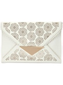 White Cut Out Envelope Clutch - predominant colour: white; occasions: evening, holiday; type of pattern: large; style: clutch; length: hand carry; size: standard; material: faux leather; finish: plain; pattern: patterned/print