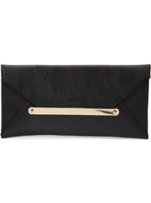 Black And Gold Envelope Clutch - predominant colour: black; occasions: evening, occasion; type of pattern: standard; style: clutch; length: hand carry; size: small; material: faux leather; pattern: plain; finish: plain; embellishment: chain/metal