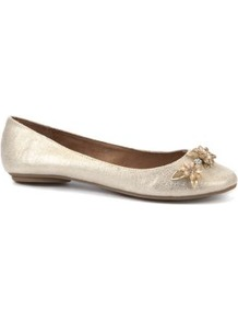 Wide Fit Gold Floral Embellished Pumps - predominant colour: gold; occasions: casual, work; material: faux leather; heel height: flat; embellishment: jewels; toe: round toe; style: ballerinas / pumps; trends: metallics; finish: metallic; pattern: plain