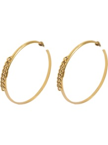 Alexander Earrings - predominant colour: gold; occasions: casual, evening, occasion; style: hoop; length: long; size: large/oversized; material: chain/metal; fastening: pierced; finish: metallic