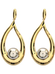 Annabel Earrings - secondary colour: silver; predominant colour: gold; occasions: evening, occasion; style: drop; length: long; size: large/oversized; material: chain/metal; fastening: pierced; finish: metallic