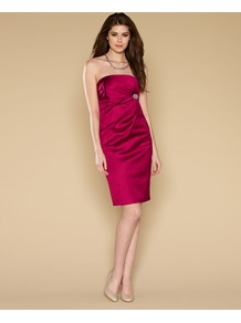 Roxanne Dress - style: shift; neckline: strapless (straight/sweetheart); fit: tailored/fitted; pattern: plain; sleeve style: sleeveless; waist detail: twist front waist detail/nipped in at waist on one side/soft pleats/draping/ruching/gathering waist detail; predominant colour: hot pink; occasions: evening, occasion; length: just above the knee; fibres: viscose/rayon - stretch; sleeve length: sleeveless; texture group: structured shiny - satin/tafetta/silk etc.; pattern type: fabric