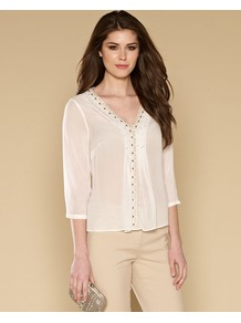 Clairey Embellished Top - neckline: v-neck; pattern: plain; bust detail: added detail/embellishment at bust; style: blouse; predominant colour: white; secondary colour: gold; occasions: casual, evening, occasion; length: standard; fibres: viscose/rayon - 100%; fit: body skimming; sleeve length: 3/4 length; sleeve style: standard; texture group: sheer fabrics/chiffon/organza etc.; pattern type: fabric; embellishment: embroidered