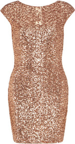 Nude Sequinned Bodycon Dress - length: mid thigh; neckline: round neck; sleeve style: capped; fit: tight; pattern: plain; style: bodycon; back detail: low cut/open back; predominant colour: nude; occasions: evening, occasion; fibres: viscose/rayon - stretch; sleeve length: short sleeve; texture group: structured shiny - satin/tafetta/silk etc.; trends: metallics; pattern type: fabric; embellishment: sequins
