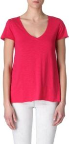 Jacksonville T Shirt - neckline: low v-neck; pattern: plain; style: t-shirt; predominant colour: hot pink; secondary colour: true red; occasions: casual, work, holiday; length: standard; fibres: cotton - mix; fit: body skimming; sleeve length: short sleeve; sleeve style: standard; pattern type: fabric; texture group: jersey - stretchy/drapey