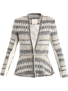 Basketweave Tweed Chain Trim Jacket - style: single breasted blazer; collar: standard lapel/rever collar; secondary colour: mid grey; predominant colour: light grey; occasions: casual, occasion; length: standard; fit: tailored/fitted; fibres: cotton - mix; sleeve length: long sleeve; sleeve style: standard; collar break: medium; pattern type: fabric; pattern size: standard; pattern: patterned/print; texture group: tweed - bulky/heavy