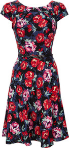 Navy Floral Dress - neckline: round neck; waist detail: belted waist/tie at waist/drawstring; secondary colour: navy; occasions: evening, occasion; length: on the knee; fit: fitted at waist &amp; bust; style: fit &amp; flare; fibres: viscose/rayon - 100%; predominant colour: multicoloured; sleeve length: short sleeve; sleeve style: standard; pattern type: fabric; pattern size: standard; pattern: florals; texture group: other - light to midweight