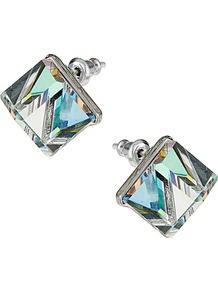 Cube Stud Earrings - occasions: casual, evening, work; predominant colour: multicoloured; style: stud; length: short; size: small; material: chain/metal; fastening: pierced; finish: plain; secondary colour: clear