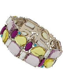 Multi Colour Stone Stretch Bracelet - secondary colour: magenta; occasions: evening, work, occasion, holiday; predominant colour: multicoloured; style: bangle; size: standard; material: chain/metal; trends: metallics; finish: fluorescent; embellishment: jewels