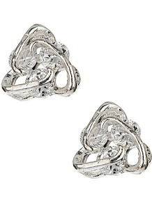Crystal Trio Stud Earrings - predominant colour: silver; occasions: evening, occasion; style: stud; length: short; size: small; material: chain/metal; fastening: pierced; finish: plain; embellishment: crystals