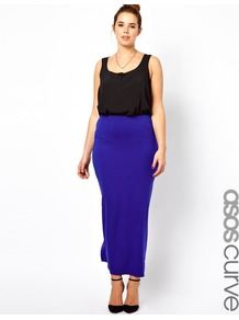 Curve Exclusive Maxi Skirt In Jersey - pattern: plain; length: ankle length; fit: body skimming; waist: high rise; predominant colour: royal blue; occasions: casual, evening, holiday; style: maxi skirt; fibres: viscose/rayon - stretch; hip detail: slits at hip; texture group: jersey - clingy; pattern type: fabric