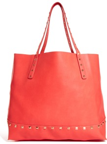 Easy Slouchy Stud Tote Bag - predominant colour: coral; occasions: casual; style: tote; length: handle; size: small; material: leather; embellishment: studs; pattern: plain; finish: plain
