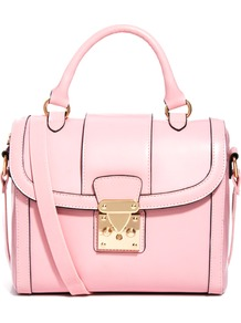 Bag With Chunky Lock And Tophandle - predominant colour: blush; occasions: casual, evening, work; type of pattern: light; style: structured bag; length: handle; size: standard; material: faux leather; pattern: plain; finish: plain