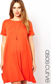 Curve Swing Dress With Short Sleeve - style: a-line; neckline: round neck; fit: loose; pattern: plain; predominant colour: coral; occasions: casual, evening; length: just above the knee; fibres: polyester/polyamide - stretch; sleeve length: short sleeve; sleeve style: standard; trends: fluorescent; pattern type: fabric; pattern size: standard; texture group: jersey - stretchy/drapey