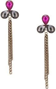 Pink Jewel Teardrop Chain Earring - predominant colour: pink; occasions: evening, occasion; style: drop; length: long; size: standard; material: chain/metal; fastening: pierced; finish: plain; embellishment: jewels