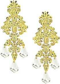 Pearl Vintage Filigree Drop Earrings - predominant colour: gold; occasions: evening, occasion; style: drop; length: mid; size: standard; material: chain/metal; fastening: pierced; trends: metallics; finish: plain; embellishment: crystals