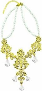 Pearl Vintage Filigree Necklace - predominant colour: gold; occasions: evening, occasion; style: bib; length: mid; size: large/oversized; material: chain/metal; trends: metallics; finish: plain; embellishment: crystals