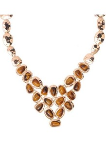 Tiger Eye Organic Bib Necklace - predominant colour: gold; occasions: evening, work, occasion; style: bib; length: mid; size: standard; material: chain/metal; finish: metallic; embellishment: jewels
