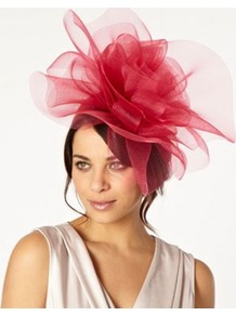 Designer Pink Meshed Rose Headband - predominant colour: hot pink; occasions: evening, occasion; type of pattern: light; style: fascinator; size: large; material: sinamay; pattern: plain; embellishment: corsage