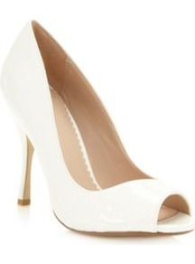 Designer White Asymmetric Patent High Court Shoes - predominant colour: white; occasions: evening, work, occasion; material: faux leather; heel height: high; heel: stiletto; toe: open toe/peeptoe; style: courts; finish: patent; pattern: plain