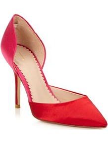 Designer Red High Colour Block Satin Court Shoes - predominant colour: true red; occasions: evening, occasion; material: satin; heel height: high; heel: stiletto; toe: pointed toe; style: courts; finish: plain; pattern: colourblock