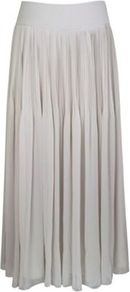 Pleat Maxi Skirt - pattern: plain; fit: loose/voluminous; waist detail: wide waistband/cummerbund; waist: mid/regular rise; predominant colour: light grey; occasions: casual, evening, work; length: floor length; style: maxi skirt; fibres: polyester/polyamide - 100%; hip detail: soft pleats at hip/draping at hip/flared at hip; texture group: sheer fabrics/chiffon/organza etc.; pattern type: fabric; pattern size: standard