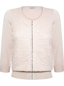 Daisy Embroidered Cardigan - neckline: round neck; predominant colour: ivory; occasions: evening, work, occasion; length: standard; style: standard; fibres: cotton - 100%; fit: standard fit; sleeve length: 3/4 length; sleeve style: standard; texture group: knits/crochet; pattern type: knitted - fine stitch; pattern size: standard; pattern: florals; embellishment: embroidered