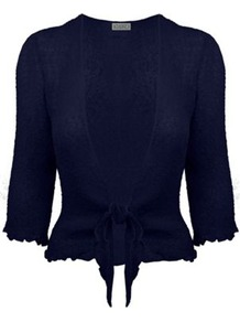 3/4 Sleeve Tie Front Shrug - pattern: plain; style: bolero/shrug; length: cropped; neckline: collarless open; predominant colour: navy; occasions: evening, work, occasion; fibres: viscose/rayon - 100%; fit: slim fit; sleeve length: 3/4 length; sleeve style: standard; pattern type: knitted - fine stitch; pattern size: standard; texture group: jersey - stretchy/drapey