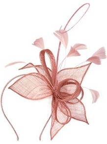 Petal Loops Fascinator - occasions: evening, occasion; type of pattern: standard; style: fascinator; size: standard; material: macrame/raffia/straw; embellishment: feather; pattern: plain; predominant colour: dusky pink