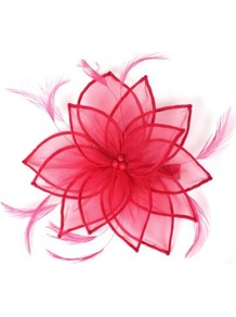Petal Floral Fascinator Clip - predominant colour: true red; occasions: evening, occasion; type of pattern: standard; style: fascinator; size: standard; material: sinamay; embellishment: feather; pattern: plain; trends: fluorescent