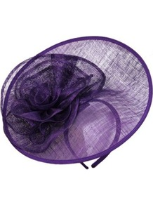 Wavy Flower Saucer - predominant colour: purple; occasions: evening, occasion; type of pattern: standard; style: fascinator; size: standard; material: macrame/raffia/straw; pattern: plain; embellishment: corsage