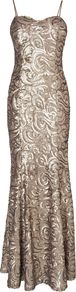 Women&#x27;s Arielle Sequin Full Length Dress, Neutral - sleeve style: spaghetti straps; waist detail: fitted waist; neckline: sweetheart; predominant colour: gold; occasions: evening, occasion; length: floor length; fit: body skimming; fibres: polyester/polyamide - 100%; style: fishtail; sleeve length: sleeveless; trends: metallics; pattern type: fabric; pattern: patterned/print; embellishment: sequins
