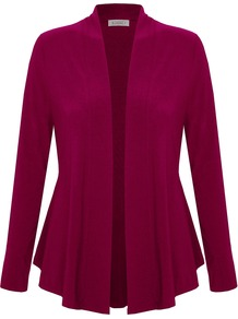 Jersey Cardigan, Pink - pattern: plain; neckline: collarless open; style: open front; predominant colour: burgundy; occasions: casual; length: standard; fibres: polyester/polyamide - stretch; fit: loose; sleeve length: long sleeve; sleeve style: standard; pattern type: fabric; texture group: jersey - stretchy/drapey