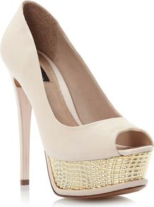 Marbs Plated Platform Peep Toe Shoes, Blonde - predominant colour: ivory; occasions: evening, occasion; material: leather; heel height: high; heel: platform; toe: open toe/peeptoe; style: courts; finish: plain; pattern: plain; embellishment: chain/metal