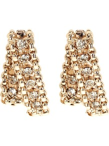 Karma Earrings, Gold - predominant colour: gold; occasions: evening, occasion; style: drop; length: short; size: large/oversized; material: chain/metal; fastening: pierced; finish: metallic; embellishment: crystals