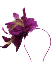 Feather Fascinator, Purple - predominant colour: purple; secondary colour: khaki; occasions: occasion; type of pattern: light; style: fascinator; size: small; material: fabric; embellishment: feather; pattern: colourblock
