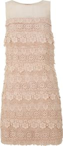 Women's Nude Layered Shift Dress, Light Pink - style: shift; fit: tailored/fitted; pattern: plain; sleeve style: sleeveless; predominant colour: nude; occasions: evening, occasion; length: just above the knee; fibres: cotton - mix; neckline: crew; sleeve length: sleeveless; texture group: knits/crochet; embellishment: lace