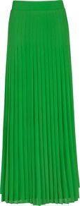 Women's Miquaj Pleated Maxi Skirt, Green - pattern: plain; fit: loose/voluminous; waist: mid/regular rise; predominant colour: emerald green; occasions: evening, occasion; length: floor length; style: maxi skirt; fibres: polyester/polyamide - 100%; hip detail: structured pleats at hip; texture group: sheer fabrics/chiffon/organza etc.; pattern type: fabric; pattern size: standard