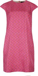 Women&#x27;s Allysia Geometric Print Tunic Dress, Pink - style: shift; length: mid thigh; neckline: round neck; sleeve style: capped; predominant colour: pink; occasions: evening, occasion; fit: straight cut; fibres: polyester/polyamide - stretch; sleeve length: short sleeve; texture group: silky - light; pattern type: fabric; pattern size: standard; pattern: patterned/print