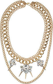 Chain Spike Crystal Collar - predominant colour: gold; occasions: evening, occasion; style: choker/collar; length: short; size: large/oversized; material: chain/metal; trends: metallics; finish: plain; embellishment: crystals