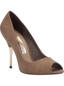 Limited Edition Metallic Heel Stilettos - predominant colour: camel; occasions: evening, work, occasion; material: fabric; heel height: high; heel: stiletto; toe: open toe/peeptoe; style: courts; finish: plain; pattern: plain; embellishment: chain/metal